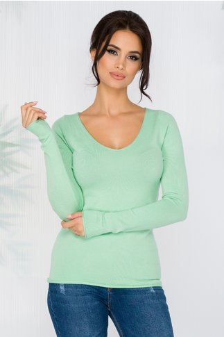 Bluza Kimmy verde mint cu decolteu in V