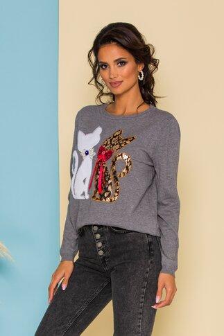 Bluza Kitty din jerse gri cu aplicatii tip pisici