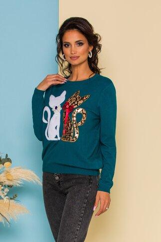 Bluza Kitty din jerse turcoaz cu aplicatii tip pisici