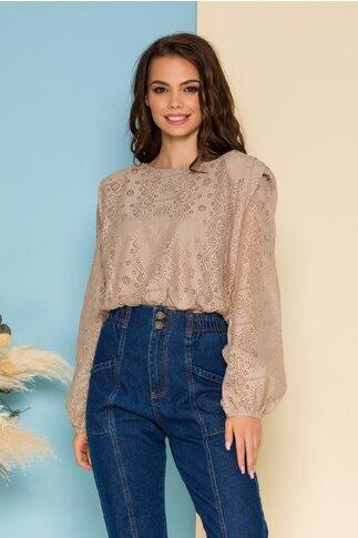 Bluza Lacey bej din dantela cu elastic in talie