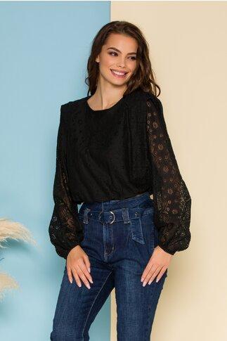 Bluza Lacey neagra din dantela cu elastic in talie