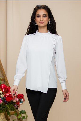 Bluza LaDonna alba cu aspect petrecut si nasturi decorativi