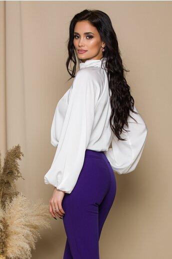 Bluza LaDonna alba cu design incretit la guler