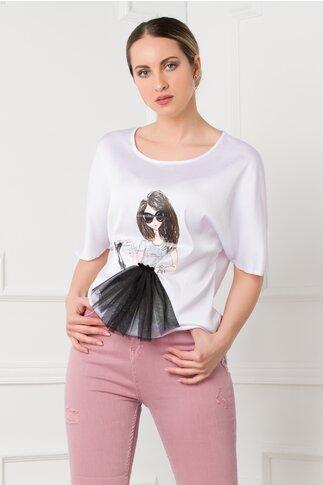 Bluza LaDonna alba cu imprimeu fashion girl