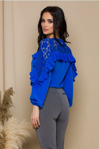 Bluza LaDonna albastra cu dantela si volanase