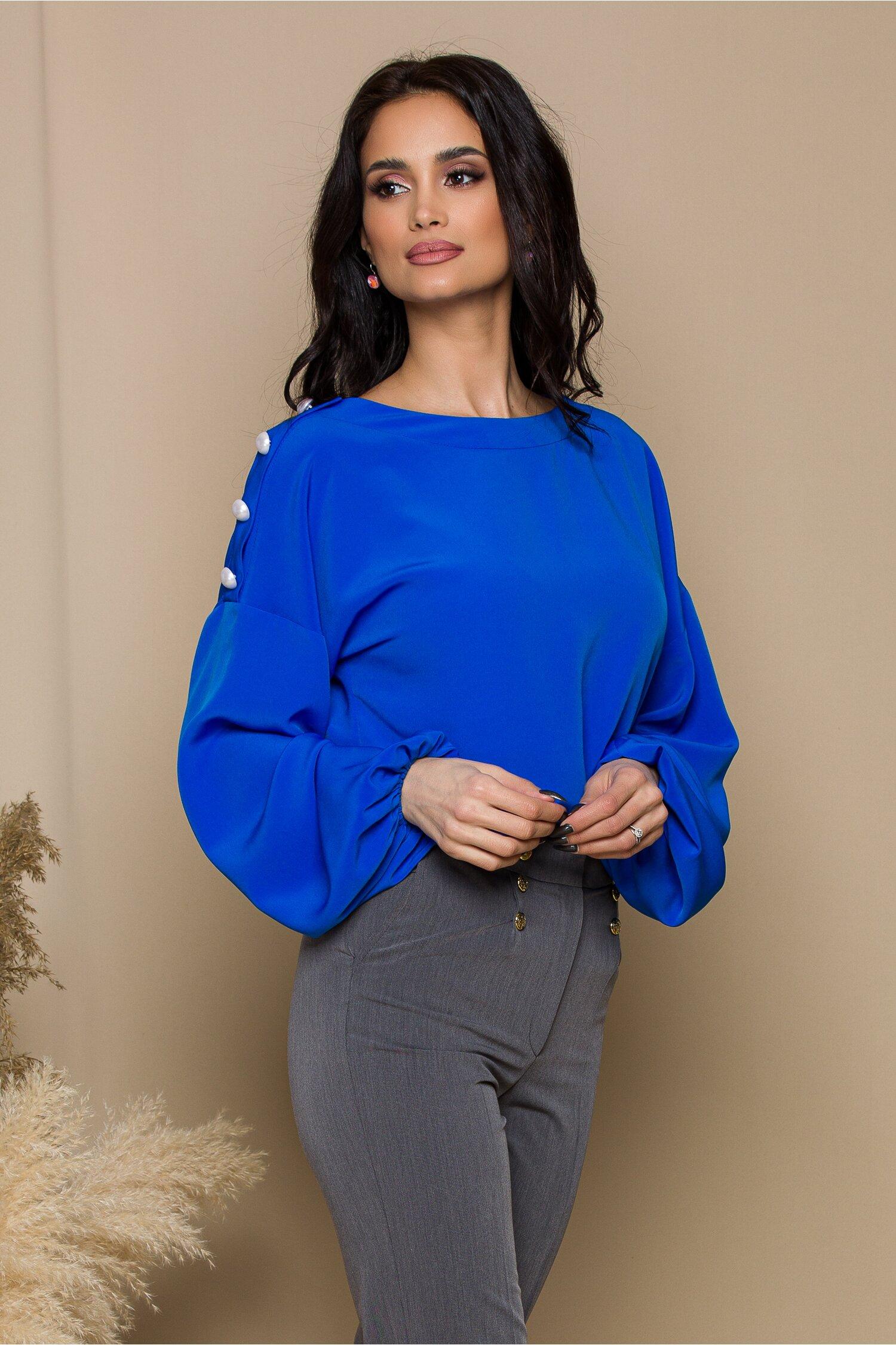 Bluza LaDonna albastra cu nasturi perlati la umeri