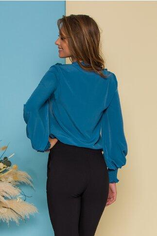 Bluza LaDonna albastru petrol cu volanase si guler tip esarfa