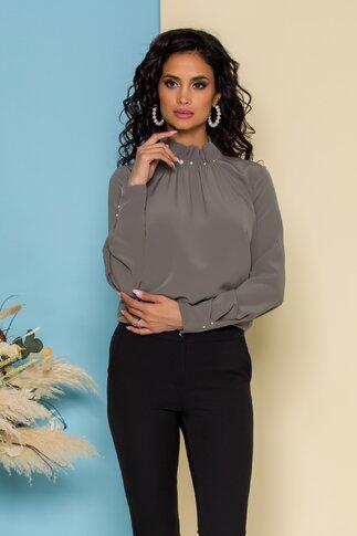 Bluza LaDonna antracit cu guler inalt accesorizat cu perle