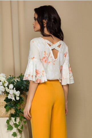 Bluza LaDonna beige cu imprimeu floral in nuante pastelate