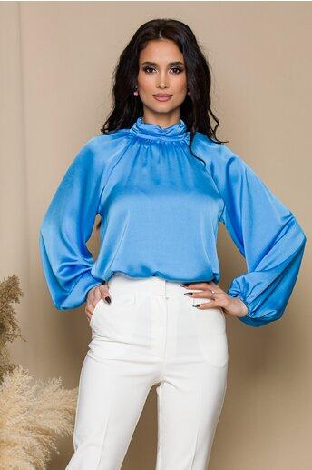 Bluza LaDonna bleu cu design incretit la guler