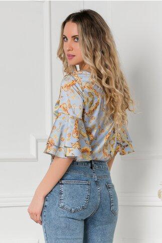 Bluza LaDonna bleu cu imprimeu chain