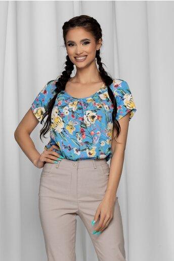 Bluza LaDonna bleu cu imprimeu floral si design cu pliuri la bust