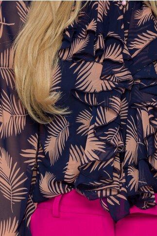 Bluza LaDonna bleumarin cu frunze roz si volane pe bust