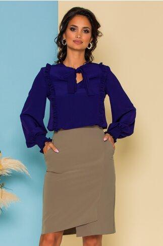 Bluza LaDonna bleumarin cu volanase si guler tip esarfa