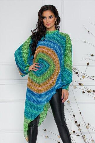 Bluza LaDonna by Catalin Botezatu cu imprimeu in zig zag multicolor