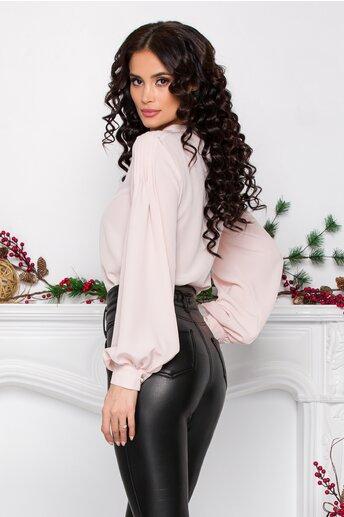 Bluza LaDonna by Catalin Botezatu roz pal cu pliuri la bust