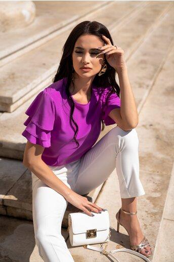 Bluza LaDonna by DYFashion violet cu maneci scurte cu volanase