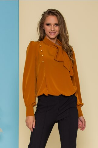 Bluza LaDonna caramizie cu detaliu stil esarfa la guler si nasturi decorativi tip bijuterie