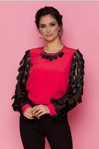 Bluza LaDonna corai cu maneci lungi din tull cu aplicatii 3D tip petale
