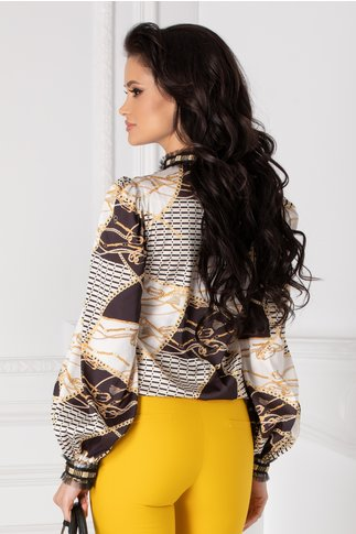 Bluza LaDonna cu imprimeu divers si dantela la guler