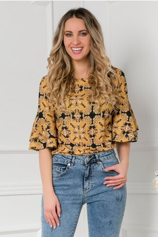 Bluza LaDonna cu imprimeu vintage galben