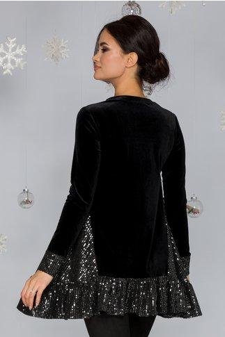 Bluza LaDonna din catifea neagra cu paiete la baza