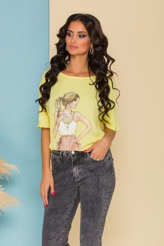 Bluza LaDonna din voal galben pal cu imagine imprimata pe fata