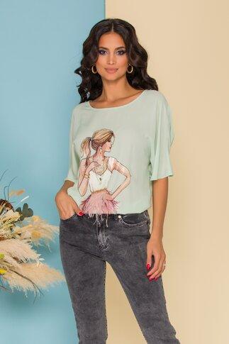 Bluza LaDonna din voal verde cu imagine imprimata pe fata