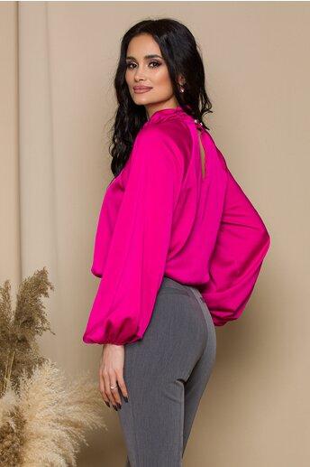 Bluza LaDonna fucsia cu design incretit la guler