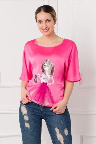 Bluza LaDonna fucsia cu imprimeu fashion girl