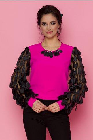 Bluza LaDonna fucsia cu maneci lungi din tull cu aplicatii 3D tip petale
