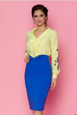 Bluza LaDonna galben deschis cu broderie florala pe maneci