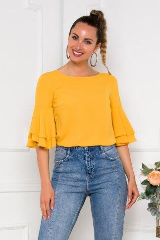 Bluza LaDonna galben mustar cu decupaj pe spate
