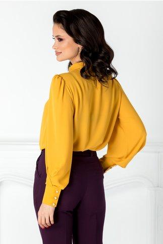 Bluza LaDonna galben mustar cu funda maxi la umar