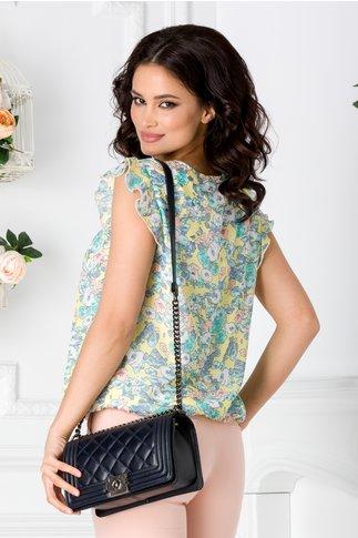 Bluza LaDonna galbena vaporoasa cu imprimeu floral