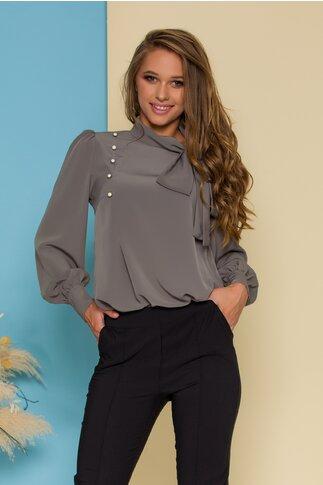 Bluza LaDonna gri cu detaliu stil esarfa la guler si nasturi decorativi tip bijuterie