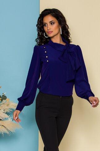 Bluza LaDonna indigo cu detaliu stil esarfa la guler si nasturi decorativi tip bijuterie