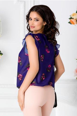 Bluza LaDonna indigo vaporoasa cu imprimeu floral