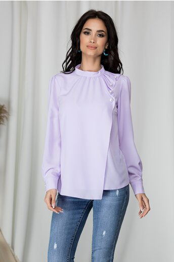Bluza LaDonna lila cu aspect petrecut si nasturi decorativi