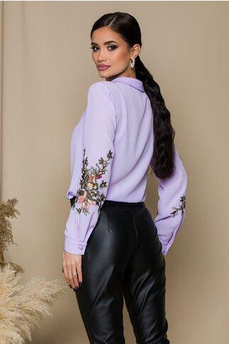 Bluza LaDonna lila cu broderie florala pe maneci