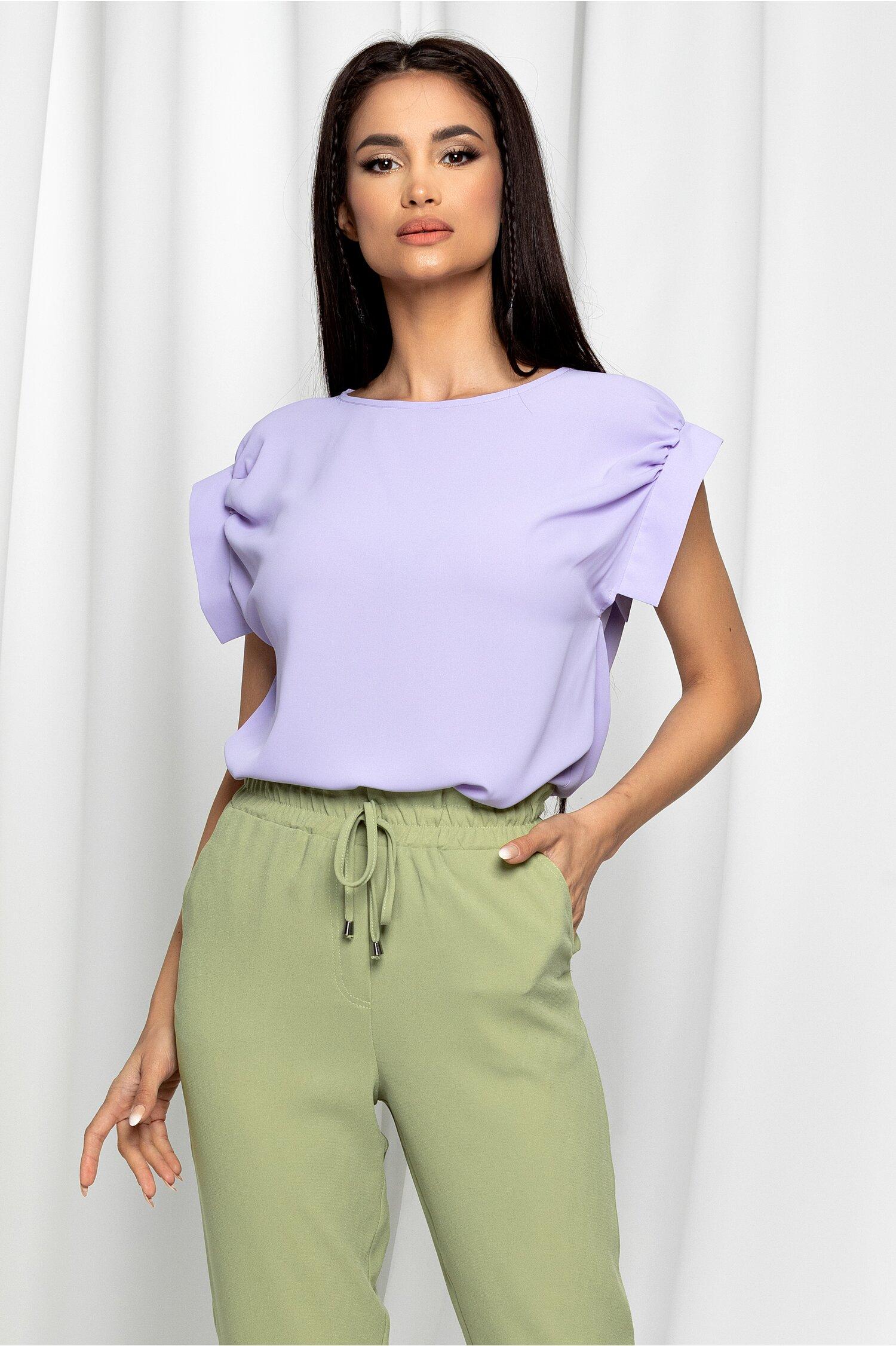 Bluza LaDonna lila cu decolteu rotund si maneci scurte
