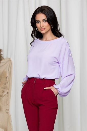 Bluza LaDonna lila cu nasturi la umeri