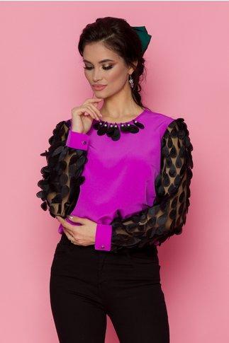 Bluza LaDonna mov cu maneci lungi din tull cu aplicatii 3D tip petale