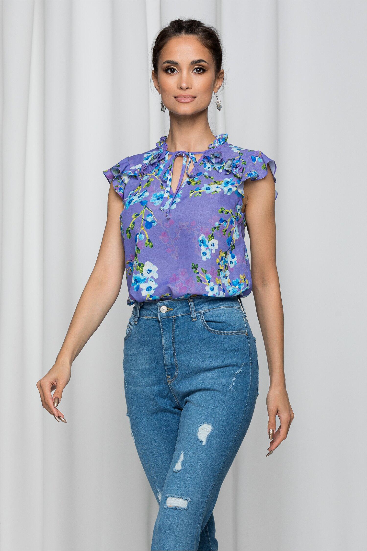 Bluza LaDonna mov cu volanas si imprimeu floral