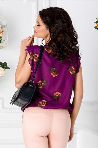 Bluza LaDonna mov vaporoasa cu imprimeu floral