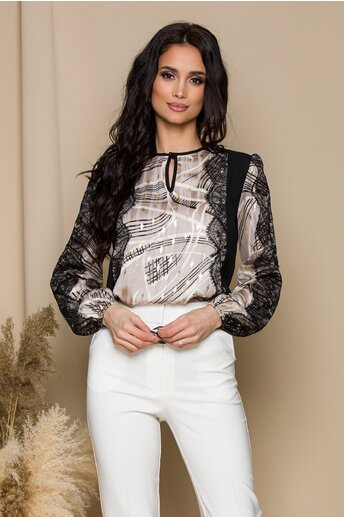Bluza LaDonna neagra accesorizata cu dantela chantilly