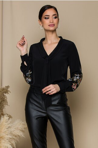 Bluza LaDonna neagra cu broderie florala pe maneci