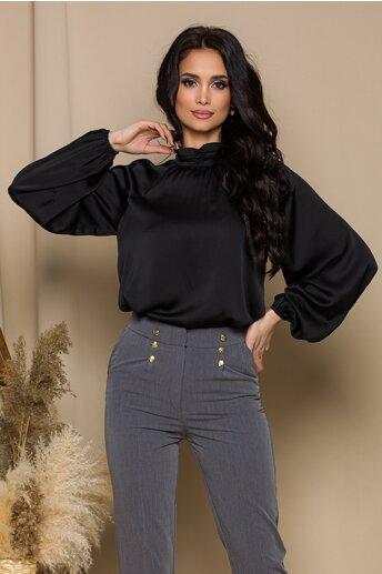 Bluza LaDonna neagra cu design incretit la guler