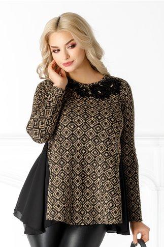 Bluza LaDonna neagra cu detalii aurii si broderie florala