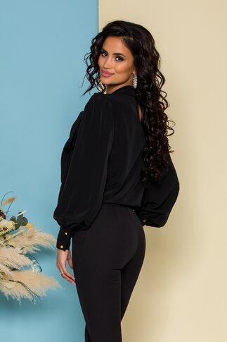 Bluza LaDonna neagra cu detaliu stil esarfa la guler si nasturi decorativi tip bijuterie